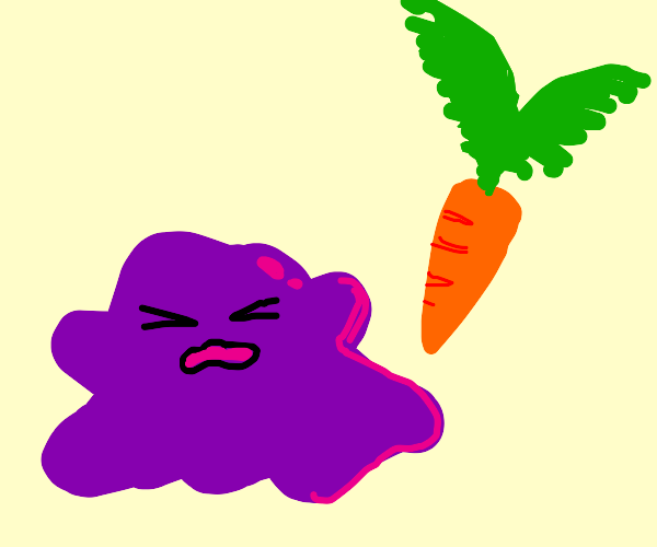Mortified Ditto doesn't like carrots