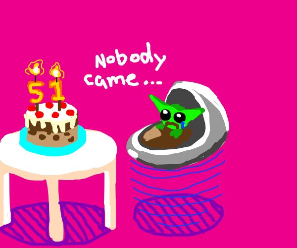 BabyYoda sad that no one came to his birthda