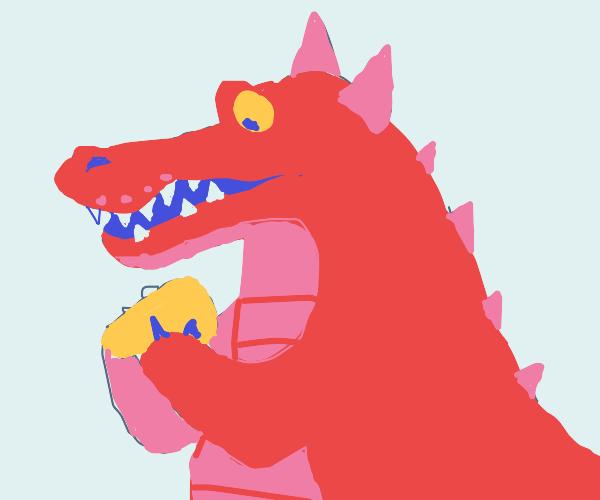 Devil Alligator eats Cheddar