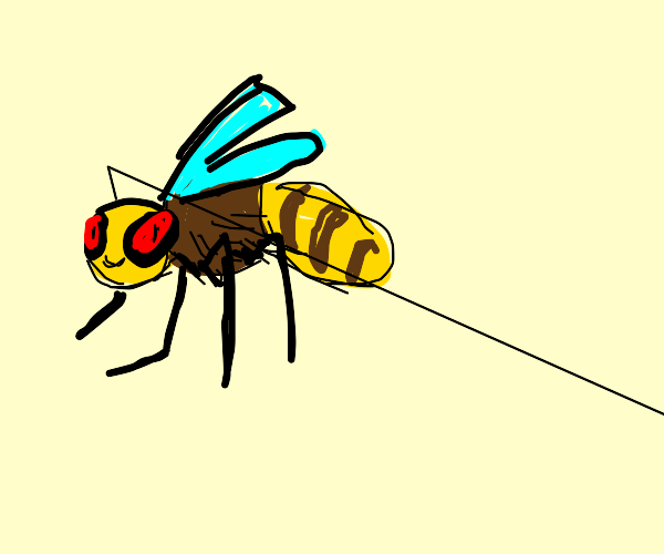 a bee with red eyes