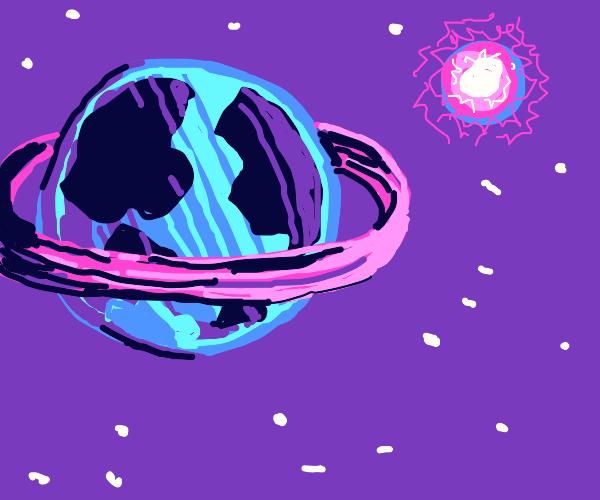 Earth with a purple ring