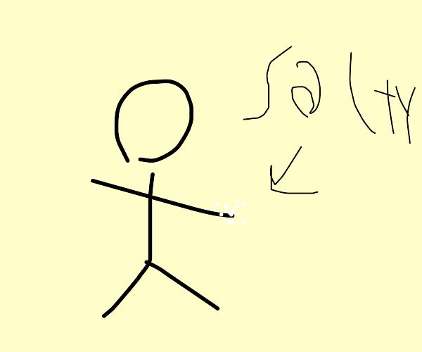 Stickman with salt in his hands