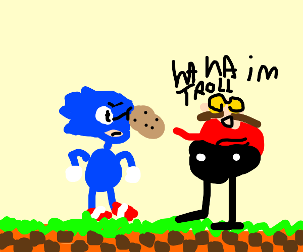 Sonic being hit by a potato