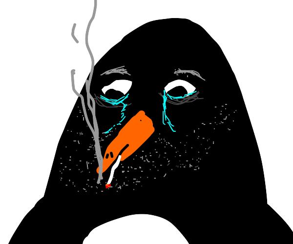 A sad penguin