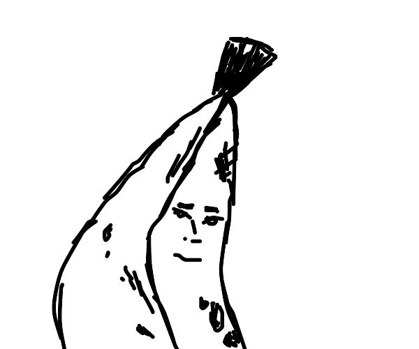 Man is upset for having a banana body