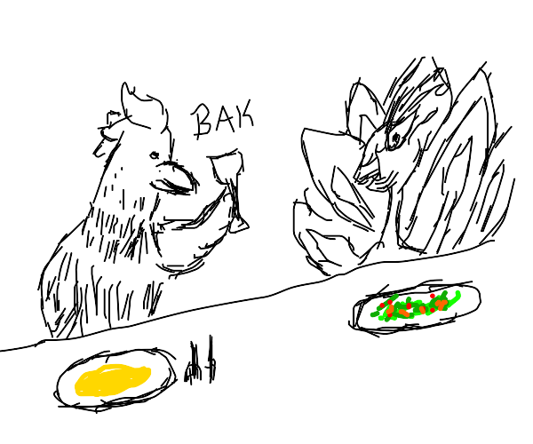 A Rooster and Peacock Have Dinner