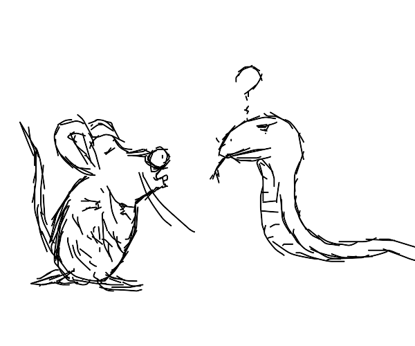 A mouse kissing a snake