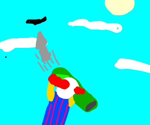 clown taking the plane down