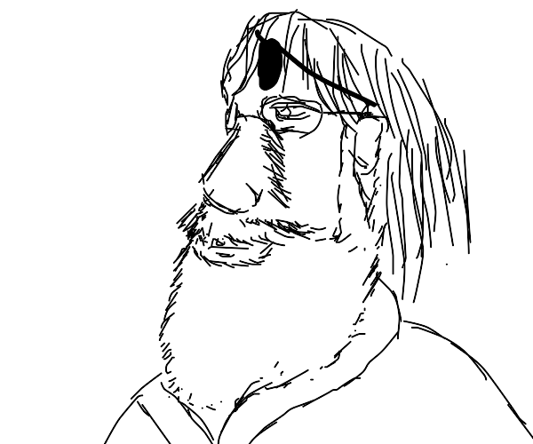 Bearded Old man with eyepatch on forehead