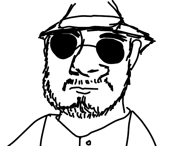 man wearing vest with beard and fedora