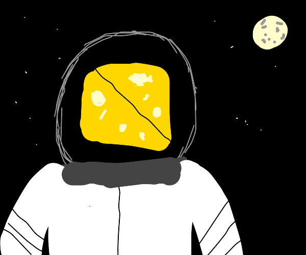Cheese head astronaut watches the stars