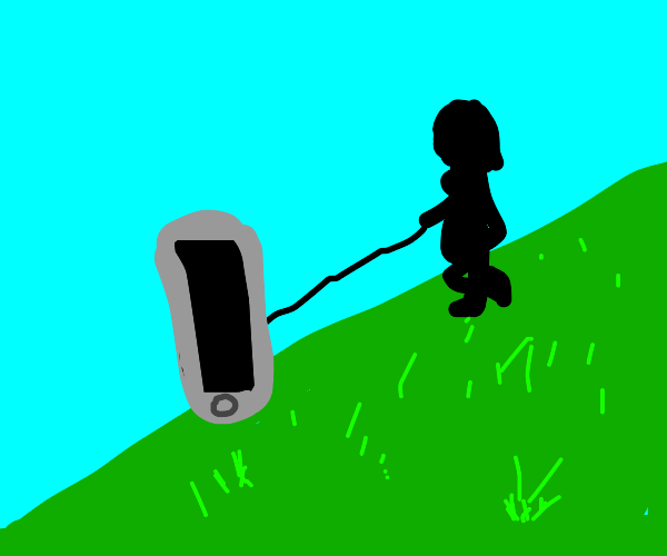 Lady walking her pet phone down the hill.