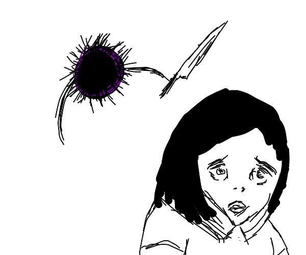 sea urchin attacking anime girl