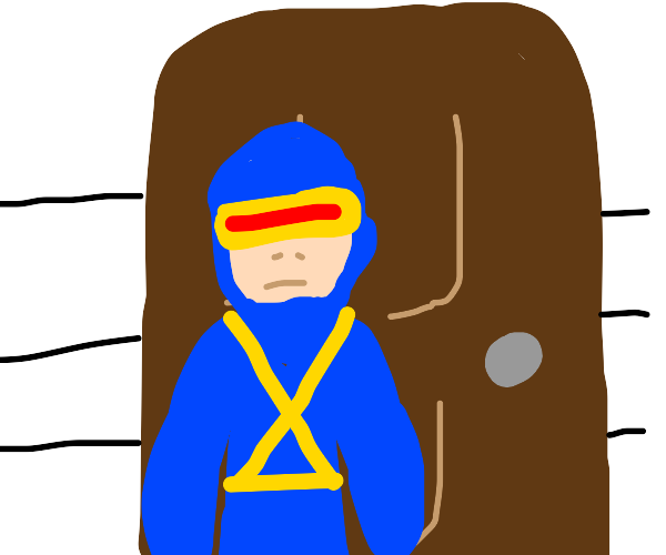 cyclops standing outside his house