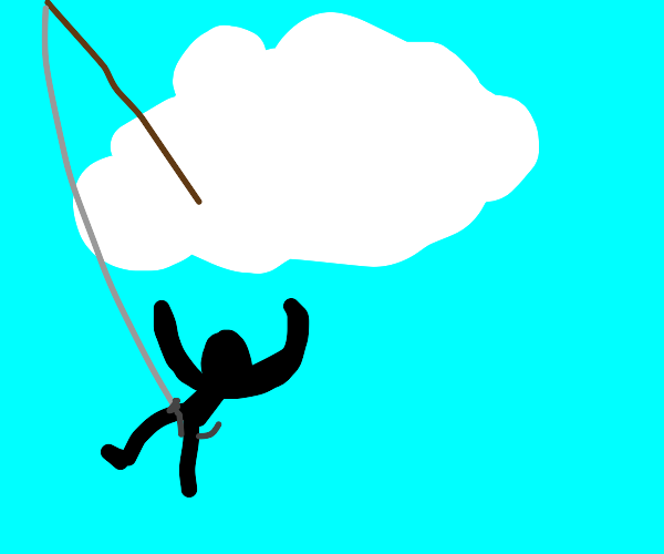 Cloud hooks somebody's groin with fishing rod