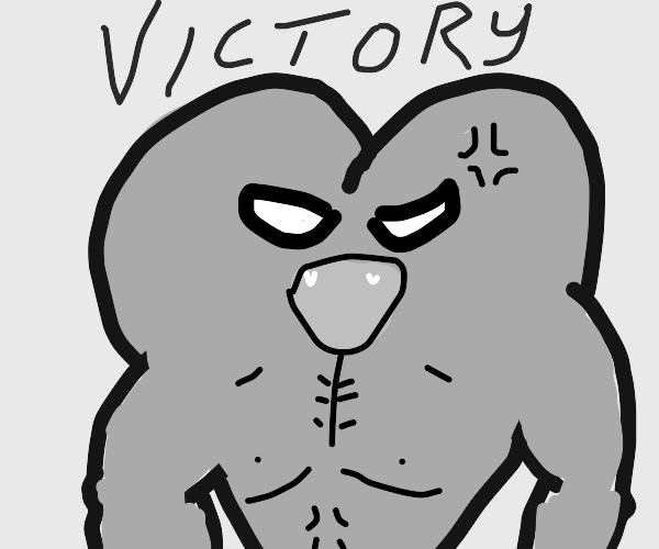 A buff heart exclaiming victory