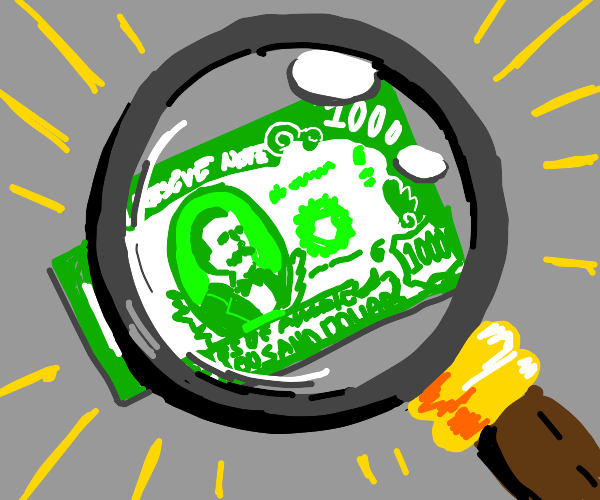 magnifying glass over a 1,000 dollar bill