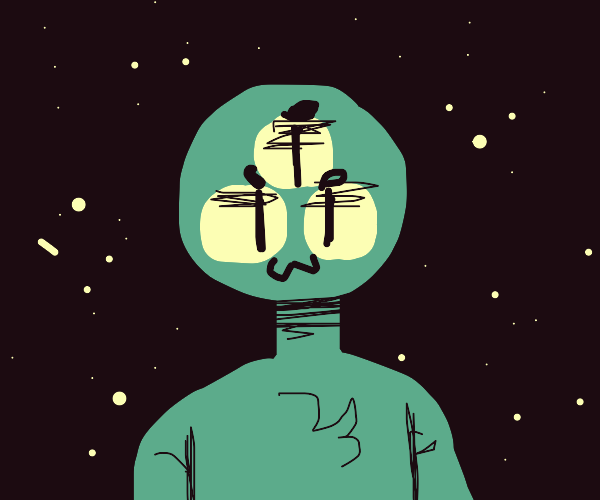 Alien with 3 eyes in space.