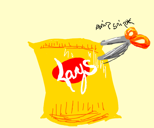 Cut open the bag of chips