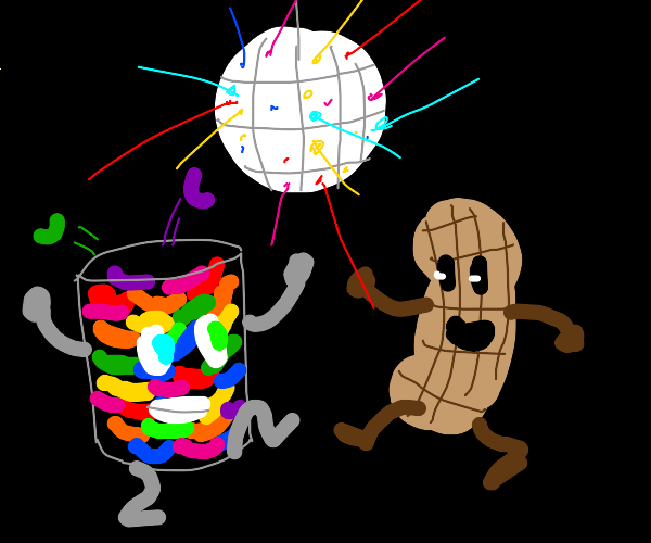 A cup of jellybeans and a peanut disco dance