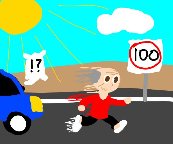 Old man runs at 100 kilometres per hour