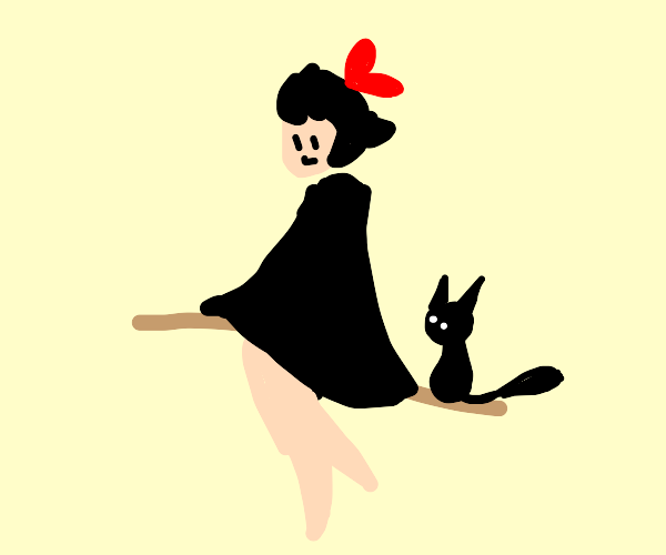 Witch with a black cat