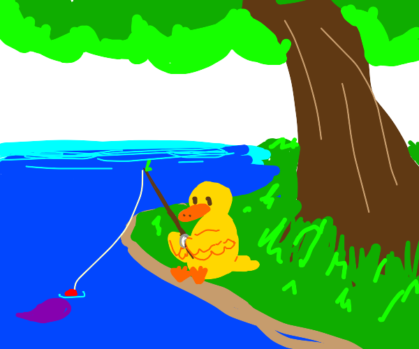 A yellow duck fishing