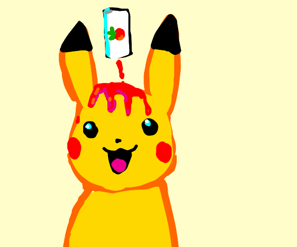 Pikachu with dripping ketchup hair