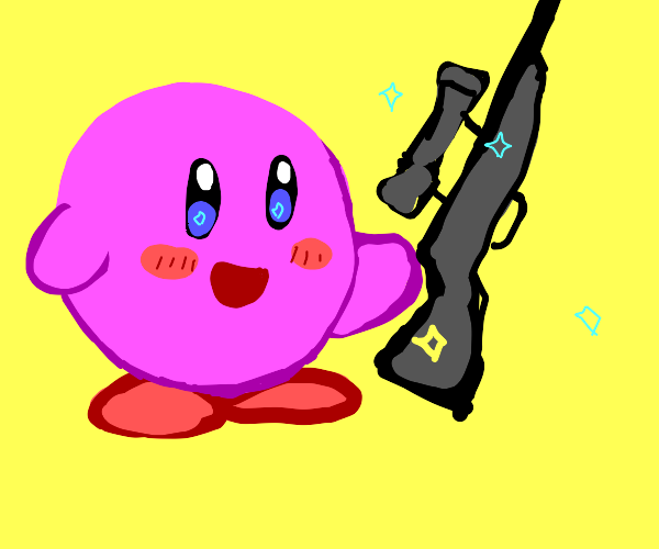 Kirby with a rifle