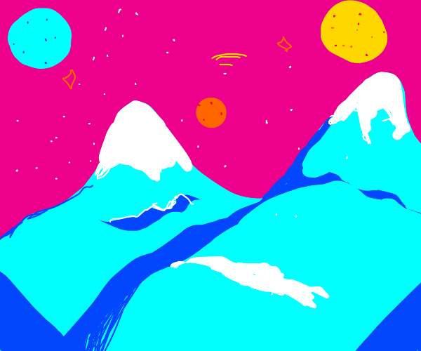 Snowy mountains on an alien planet