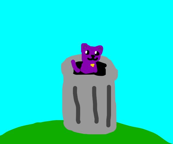 Purple feline in a trash bin.
