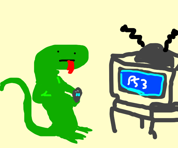 Pet lizard with lizard-sized PS3 console