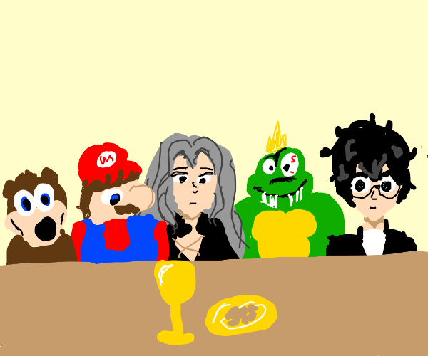 the last supper but with smash characters