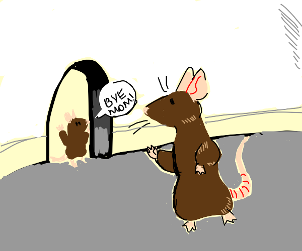 Mother mouse leaving kid at home