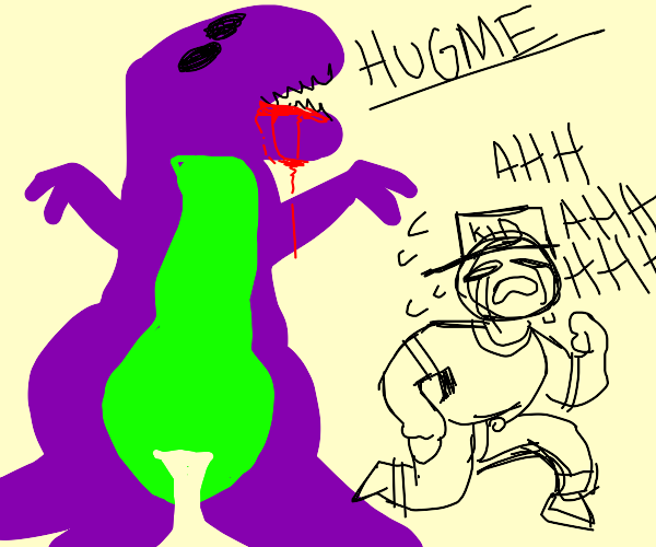barney wants a hug and chases kid who doesnt