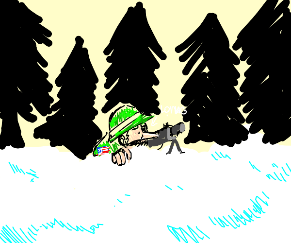 Long-nosed soldier in winter