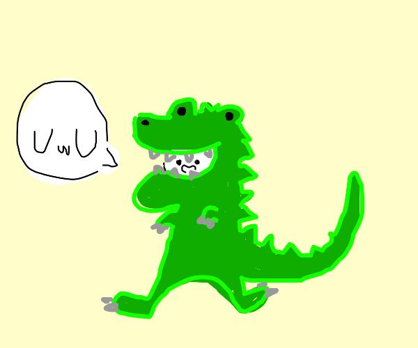 guy in dinosaur costume says uwu