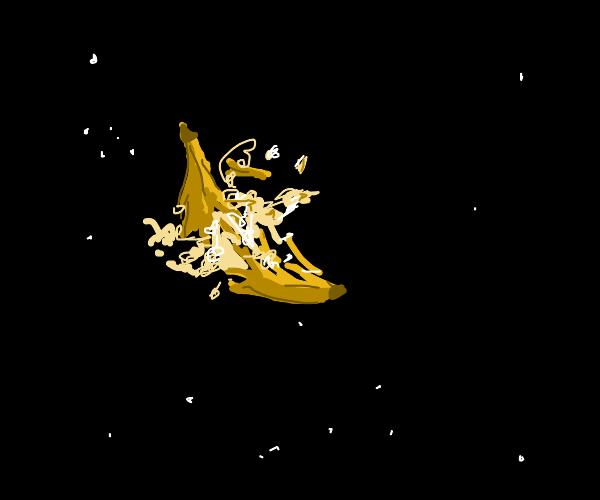 Banana exploding in space