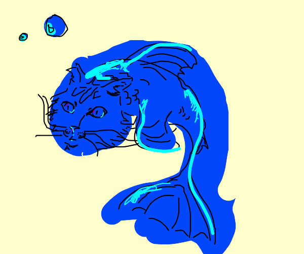 a blue fish with a cat's face and ears