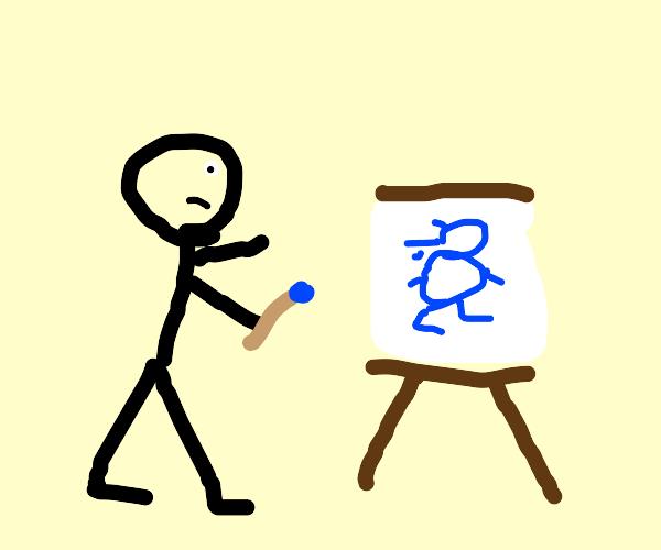 Little kid draws Sanic