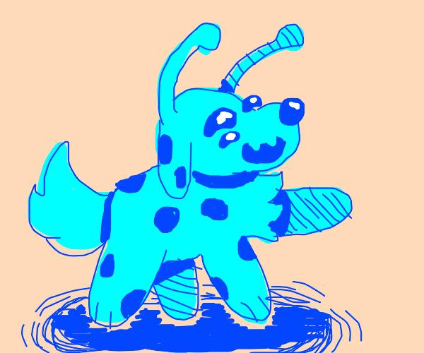 Blue alien dog is happy