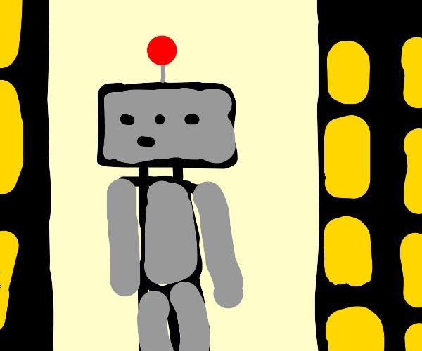 A grey robot in a weird city