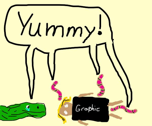 Wimpy Crocodile Kid & worms scavenge woman