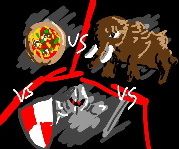 Pizza vs Mammoth vs Knight. Only 1 can win