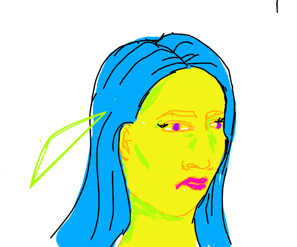 Girl with blue hair giving a nasty stare