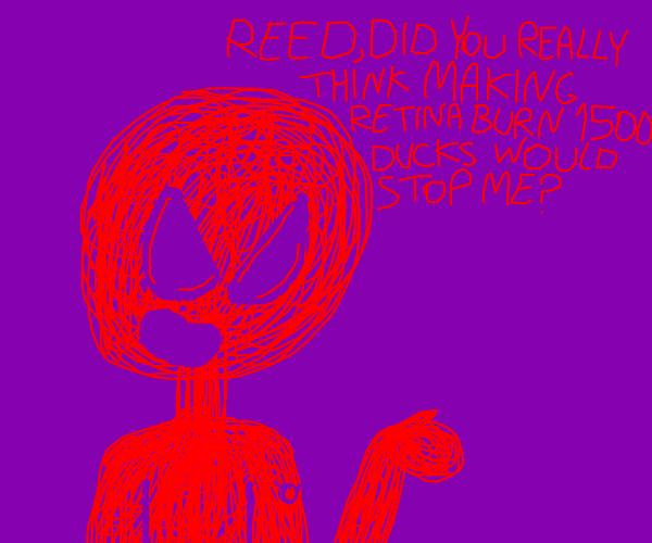 red guy made of scribbles burned 1500 ducks