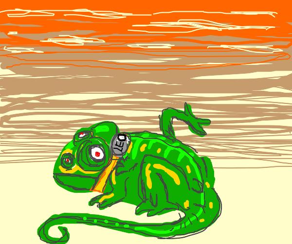 mutant chameleon in a wasteland named leo