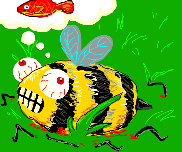 Legless bee dreams of red fish
