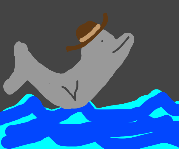 Dolphin rides the waves wearing a cool hat