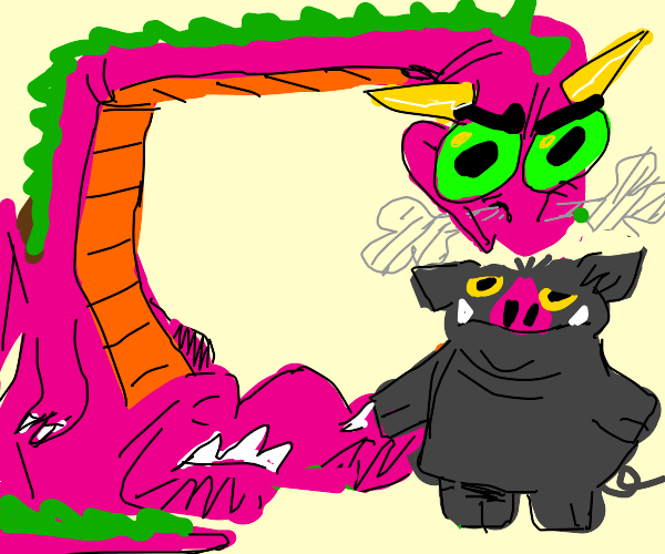 pink dragon and a gray pig
